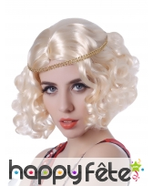 Perruque blonde coupe charleston bouclée, image 1