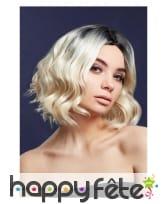 Perruque blonde courte bouclée avec racines noires