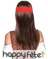 Perruque brune de pirate avec bandeau rouge, image 1