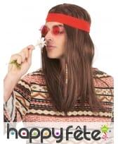 Perruque brune de pirate avec bandeau rouge, image 2