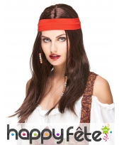 Perruque brune de pirate avec bandeau rouge