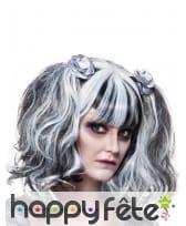Perruque blanche et noire gothique avec couettes