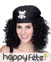 Perruque bouclée et bandana de pirate pour femme