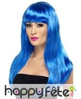 Perruque bleu fluo lisse avec frange