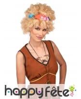 Perruque blonde frisée afro style hippie, image 1
