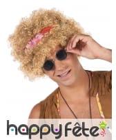 Perruque blonde frisée afro style hippie