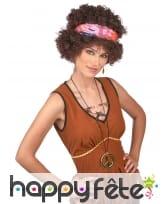Perruque brune frisée afro style hippie, image 1