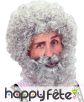 Perruque bouclee grise avec barbe