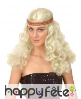 Perruque blonde hippie ondulée avec bandeau