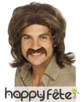Perruque brune homme années 70