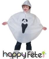 Poncho blanc imprimé fantôme pour enfant