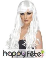 Perruque blanche longues boucles