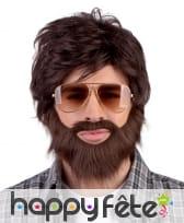 Perruque barbe moustache châtain de vrai mec