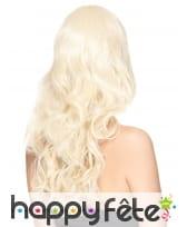Perruque blonde ondulée avec frange, luxe, image 1