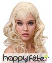 Perruque blonde ondulée avec frange, luxe, image 3