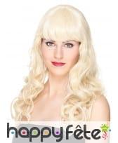 Perruque blonde ondulée avec frange, luxe