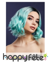 Perruque bleu pastel courte bouclée avec racines