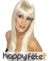 Perruque blonde platine longue avec frange