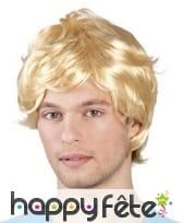 Perruque blonde pour homme, années 70