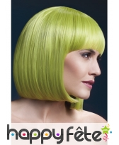 Perruque bob verte pastel élégante avec frange