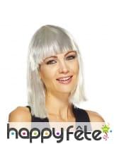 Perruque cabaret blanche lamelles argentées