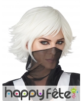 Perruque Cosplay blanche courte pour adulte