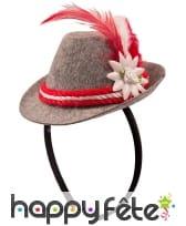 Petit chapeau bavarois sur serre-tête pour adulte