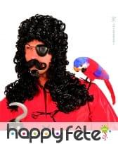 Perruque capitaine crochet avec bouc et moustaches