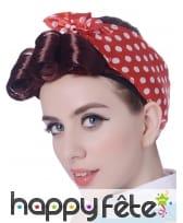 Perruque chatain courte avec foulard rouge 50's, image 1
