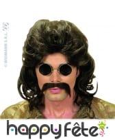 Perruque chatain des annees 70 avec moustaches