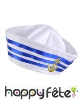 Petit chapeau de marin blanc et bleu, image 1