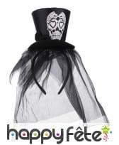 Petit chapeau Dia de los muertos noir et voile, image 1