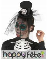 Petit chapeau Dia de los muertos noir et voile