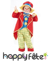 Petit costume de clown rouge et coloré pour enfant