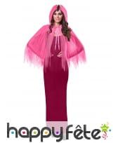 Petite cape en voile rose avec capuche pour femme