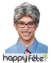 Perruque courte grise avec moustache pour homme