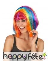 Perruque carré multicolore frange et raie centrale
