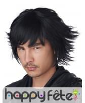 Perruque Cosplay noire courte pour adulte