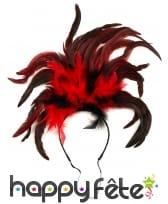 Plumes cabaret noire rouge sur serre tête, image 1