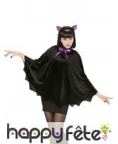 Poncho chauve noir et violet pour femme, image 1