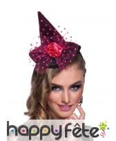 Petit chapeau pointu noir voile rose