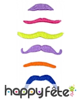 Pack de 6 moustaches fluos assort.