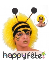 Perruque d'abeille jaune avec antennes