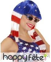 Perruque drapeau amérique pour femme