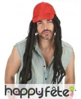 Perruque dreadlocks avec casquette rouge