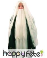 Perruque druide avec barbe blanche
