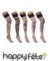 Paire de bas effet tatouage adulte