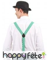 Paire de bretelles vertes et trèfles blancs, image 1