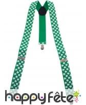 Paire de bretelles vertes et trèfles blancs, image 4