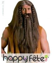 Perruque de barbare avec barbe et moustaches